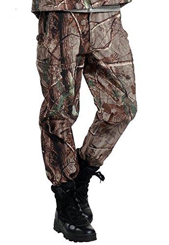 Jomotala Männer Fleece Hosen Wasserdicht Winddicht Outdoor Wandern Klettern Camouflage Jagd Hosen Militärarmee Hose Skifahren (Wasserdichte Jagd-hose)