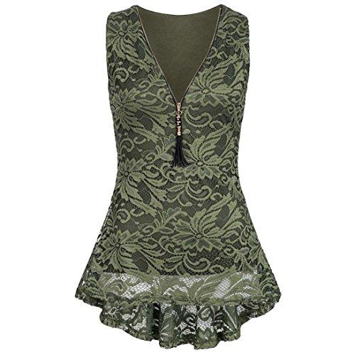 OSYARD Damen Blumenspitze Reißverschluss Tank Top ärmellose Dünne Weste Reine T-Shirts(EU 44/L, Grün) (Bandana-druck-kleidung)