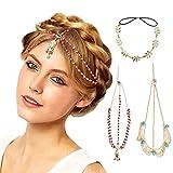 DRESHOW 3 Pack Bohemian Hair Zubehör Diamant Perle Quaste Haar Band Alice Band, Gold Blatt Kette Stirnband, Einzigartiges Türkis Kette Stirnband
