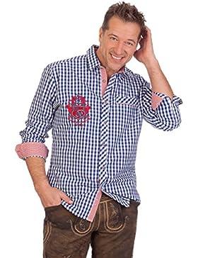 H1619 - Trachtenhemd mit Langem Arm - Hagen - Grün, Blau, Größe L