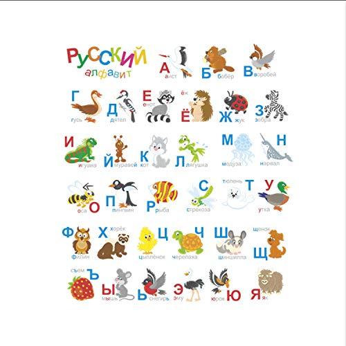 ikjuh Wandaufkleber Schlafzimmer Cartoon Tier Buchstaben Dekor Für Kinderzimmer Baby Kindergarten Wand PVC Kunst Aufkleber 85 * 92 cm