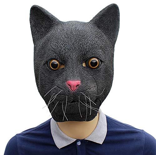 ZXQY Halloween Schwarze Katze Latex Maske Bar Party Kostüm Party Parodie - Pete The Cat Kostüm