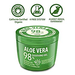 [500ml] 98% Cold Pressed Aloe Vera Gel - Urgent Skin Solution For Acne, Sunburn, Bug Bites, Rashes, Eczema, Itchy, Razor Bumps – Hypoallergenic Skin Care Made in Korea
