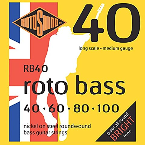 Rotosound Nickel Medium Gauge Roundwound Bass Strings (40 60 80 100)
