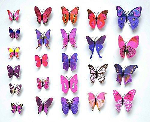 NO:1 12 Stück Mode 3D Schmetterling Magnetisch Wandsticker Wandaufkleber DIY Wandverzierung Wanddeko - Lila
