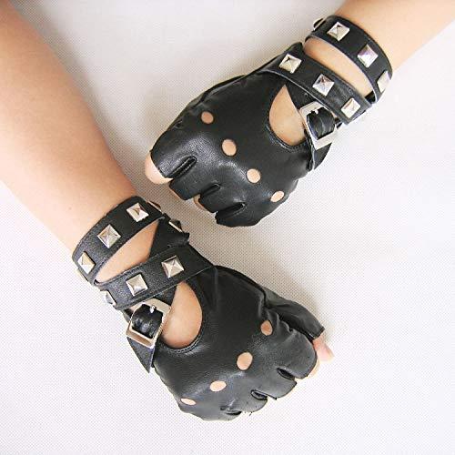 CCMOO New Gothic Punk coole Dame Mädchen Sexy Disco Tanz Rock-and-Roll fingerlose kurze PU-Leder Handschuhe, schwarze Geschenke Coole Handschuhe
