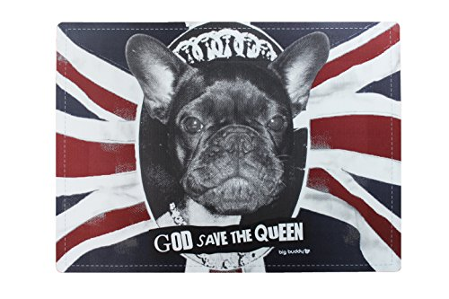 Tappetino scodella tappetino ciotola tappeto scodella ca. 55 x 40 cm per gatti cani Design 'GOD SAVE THE QUEEN'