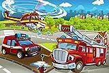 Helikopter Feuerwehr Cartoon Kinder XXL Wandbild Kunstdruck Foto Poster P1224 Größe 90 cm x 60 cm