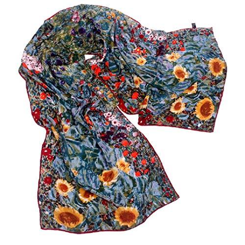 TONY&CANDICE 100% Seide Luxuriöser Charmeuse Art Collection lange Schal-Schal mit der Hand gerollten Rand, 157*40 CM (Garten der Sonnenblumen)