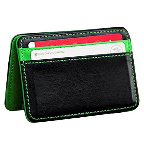 Dockers Taschen (HARRYSTORE Unisex Mini Magic Wallet Bifold Leder Dünne Kartenhalter Geldbörse (Grün))