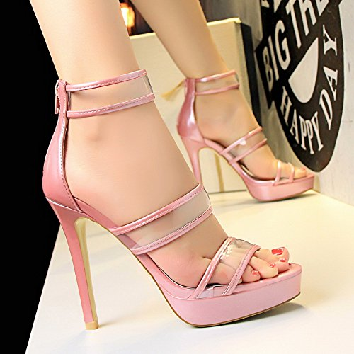 LGK&FA Tacchi Alti Con Una Multa Sandali Impermeabile Tutti-Match Bocca Di Pesce Scarpe 39 Gold 37 Pink