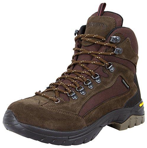 GUGGEN MOUNTAIN Gli uomini scarpe da trekking scarpe da trekking alpinismo Stivali scarponi da montagna impermeabili con suola Vibram HPM51, Colore Marrone, EU 41