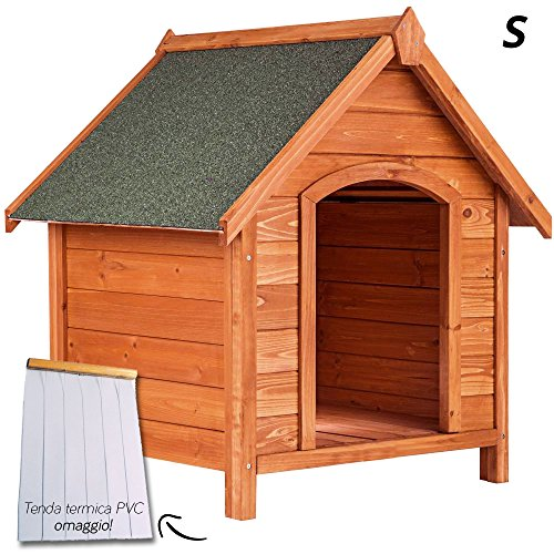 Cuccia per cane cani in legno impermeabile tetto spiovente per esterno giardino misura small 77x85x88h cm