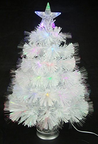 Christmas Concepts® 2ft (60cm) Blanco Iridiscente PVC Fibra Óptica Árbol de Navidad Con Cambio de Color Luces LED
