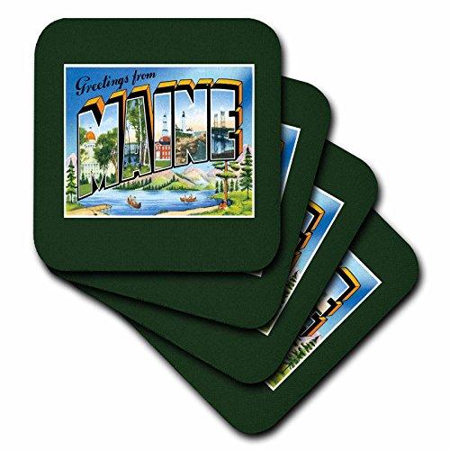 BLN Vintage US Städte und Staaten Postkarte Designs–Grüße aus Maine Scenic Postkarte mit See und Kanus–Untersetzer, keramik, set-of-4-Ceramic (Kanu-design)