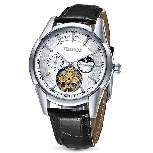 Time100 orologio uomo automatico meccanico e multifunzionale cinturino in pelle di vitello# w60025g.02a