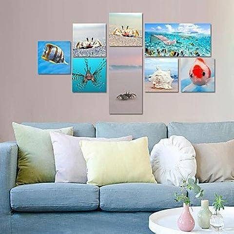 NSJ star? visual 8 piezas de arte moderno oc¨¦ano bajo el agua marino giclee cangrejo arte de la lona del paisaje marino playa listo para , Horizontal