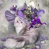 Chat Broderie Bricolage Diamant Peinture Chapeau Violet Image Complète Résine Ronde Strass Icône Perles Artisanat, 20 * 20 Cm