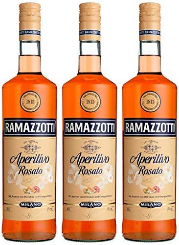 Ramazzotti Aperitivo Rosato – Der italienische Aperitif mit fruchtig-frischer Note – Ideal für Longdrinks oder Cocktails – 3 x 1L