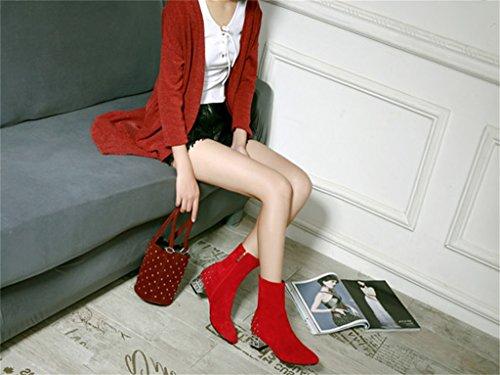ALUK- Autunno e inverno - Scarpe da sposa cinesi scarpe da sposa ruvide con stivali da donna scarpe da sposa ( Colore : Rosso , dimensioni : 35-foot length 225cm ) Rosso