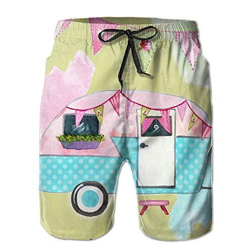 KAKICSA Men's Happy Camper Tiem LOI Adventure Summer Beach Boys Beach Shorts Surfing Pants,Size:XL