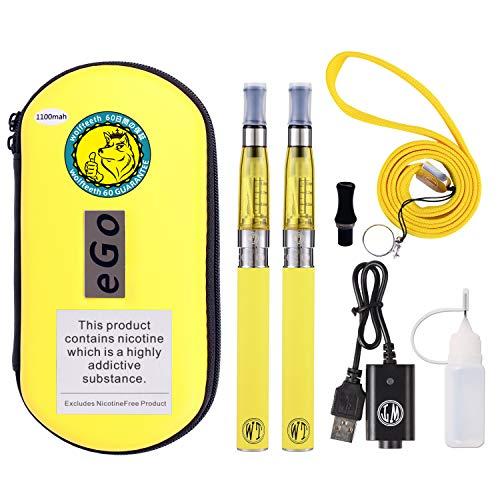 Wolfteeth 2 pack ce4 e sigaretta starter kit   1100mah batteria ce4 atomizzatore ricaricabile   sigaretta elettronica vaporizzatore caso set   senza liquido nicotina tabacco giallo llimone/100701