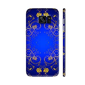 Colorpur Gold Blue Floral Pattern Printed Back Case Cover for Samsung S7 Edge