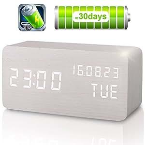 Sveglia Digitale da Comodino Colore Legno Naturale con Orario Tempo Data e Temperatura Display a LED, Sensore del Suono per l'attivazione Presa USB per Casa e Ufficio (Ricaricabile-Bianco)