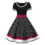 TIFIY Damen Polka Dots Kleid Pendelkleid elegant 50er Jahre Petticoat Kleider Gepunkte Rockabilly Kleider Cocktailkleider(A_d,EU:36)