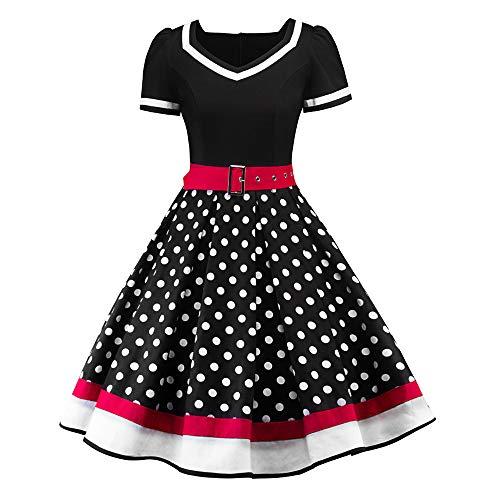 Lilicat Damen V-Ausschnitt Abendkleid Weihnachten Partykleid Vintage Ballkleid Frauen Retro...