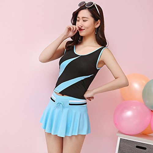 KPHY - Damen Badeanzug, eine neue split Badeanzug, kurzer Rock, niedlichen Badeanzug, Sport Badeanzug, Sport Badeanzug Sky Blue + Navy Color