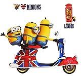 Unbekannt 3 TLG. Set _ XL Wandtattoo / Sticker -  Minion - Ich einfach unverbesserlich / auf Einem Scooter - Roller - Great Britain / London  - Wandsticker - Aufklebe..
