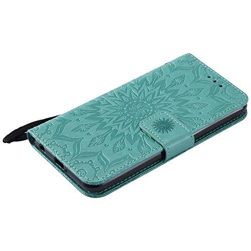 Für LG Xpower Fall, Prägen Sonnenblume Magnetische Muster Premium Weiche PU Leder Brieftasche Stand Case Cover mit Lanyard & Halter & Card Slots ( Color : Red ) Green