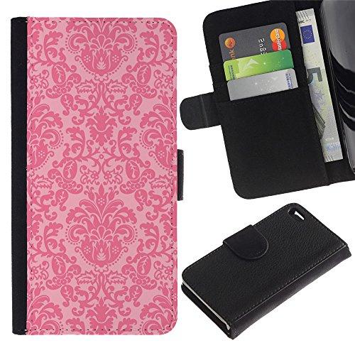 Paccase / Portafoglio del Cuoio di vibrazione del Titolare della carta Custodia per - vintage retro rustic pink wallpaper - Apple Iphone 4 / 4S