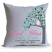 Amore Beaute Handmade personalizzabili per cuscino in cotone bianco prima comunione regalo Cresima religiosa, Cotone, White, Pink, Green, 30 x 50 cm