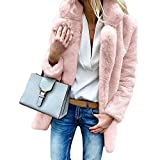 Kingko Damen Mantel Elegant Lang Warm Winter Coat Jacke Teddy-Fleece Mantel Winter Warme Langarm Strickjacke Coat Female Outwear Cardigan Mantel Einfarbig Winterjacke (L, Rosa)