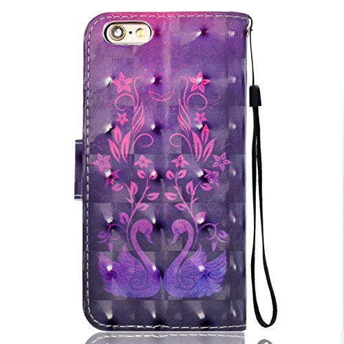 Etui Housse Coque pour iPhone 6/6S plus,PU Leather Case for iPhone 6/6S plus,Hpory élégant Fashion 3D Design Colorful Painted with Lanyard PU Cuir Case Book Style Folio Stand Fonction Support PU Leath Swan