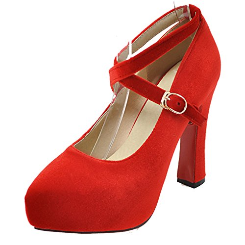 237020c51cbfec YE Damen Elegant Ankle Strap Wildleder High Heels Plateau Pumps mit Roter  Sohle Schnalle Party Schuhe