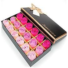 FunRun 18 Piezas Rose Jabones Perfumados en Caja de Regalo, regalo Esenciales jabón de aceite para el Día de los Enamorados de baño de burbujas regalo de ...