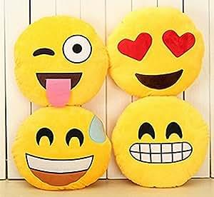 LIFECART 4pcs de 32cm Emoji Smiley Emoticon oreiller rond jaune coussin peluche peluche peluche