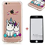 SHYHONG Coque iPhone 6/6s Transparent Housse Premium TPU Etui Souple Quatre Coussins d'air de Coin Protection avec Absorption de Choc(Licorne Bleue)+5D Écran en Verre trempé pour iPhone 6/6s