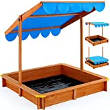 Sandkasten Spielhaus Holz Dach Abdeckung Sandbox Sandkiste Plane 120x120cm - Sonnendach höhenverstellbar - Bodenplane - Kantenschutz UV Schutz >50