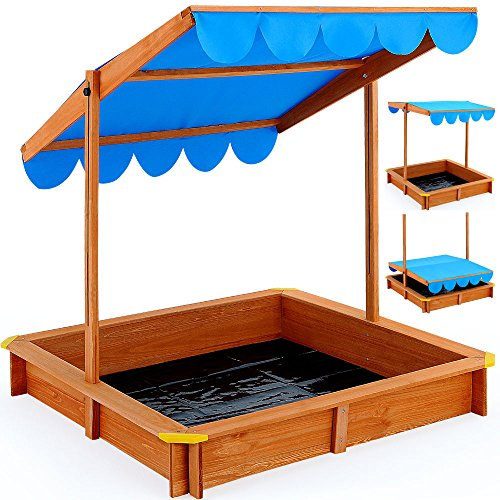 Sand Pit Deluxe 120x120cm - Sand Box with adjustable Roof Canopy for Kids - Outdoor Game Sunshade
