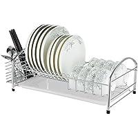 Cubiertos 304 racks de cocina de acero inoxidable escurreplatos cesta de drenaje cesta de vajilla de una sola capa conjunto de secado