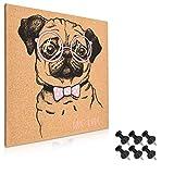 Navaris Tableau d'affichage en liège - Panneau mural 40 x 40 cm avec 6 punaises noires incluses - Tableau mémo avec design chien pug carlin