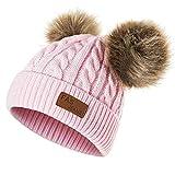 Yixda Baby Kids Winter Mütze Mädchen Jungen Warm Fellbommel Beanie Hüte (Rosa)