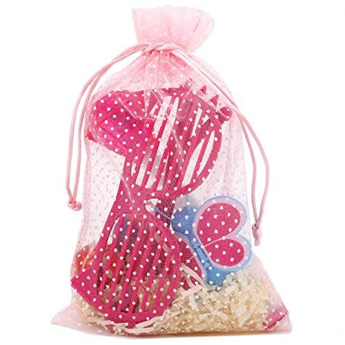 Niedliche Polka Dot Party Favor Geschenk Taschen Organza Kordelzug Taschen, pink mit punkten