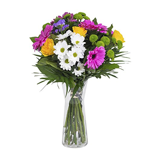 Ramo de flores frescas elaborado con gerberas, margaritas y rosas de 50...