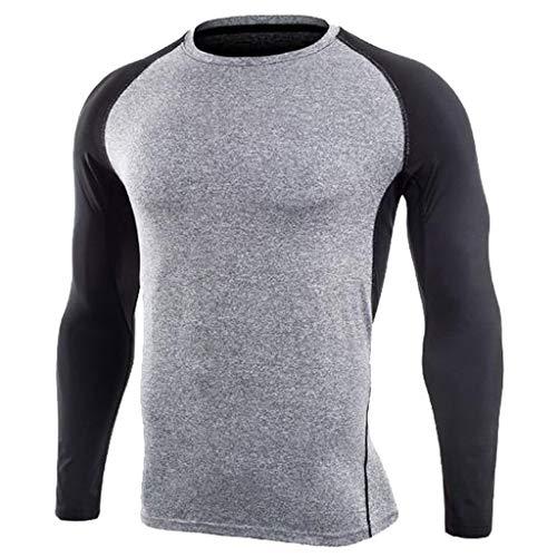 Celucke Kompressionsshirt Herren Langarm Funktionsshirt Funktionsunterwäsche Sportunterwäsche, Kompression Compression Shirt Unterhemd Laufshirt