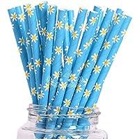 JUNGEN 25PCS Pajitas de papel Pipeta desechable con Patrón de Flor Para Cumpleaños, Boda,